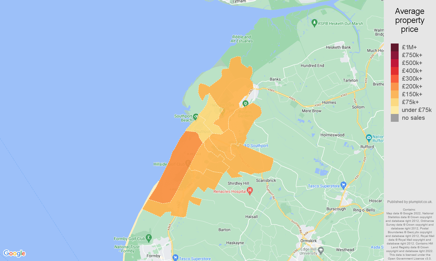 Southport house prices map