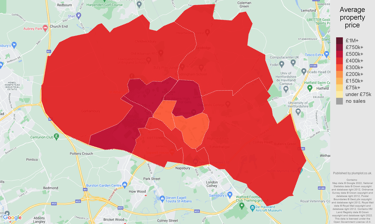 St Albans house prices map