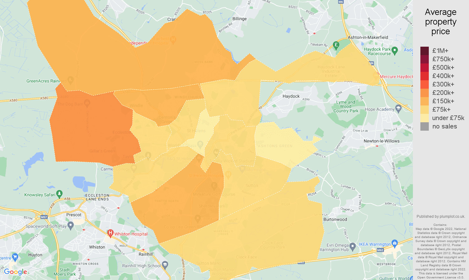 St Helens house prices map