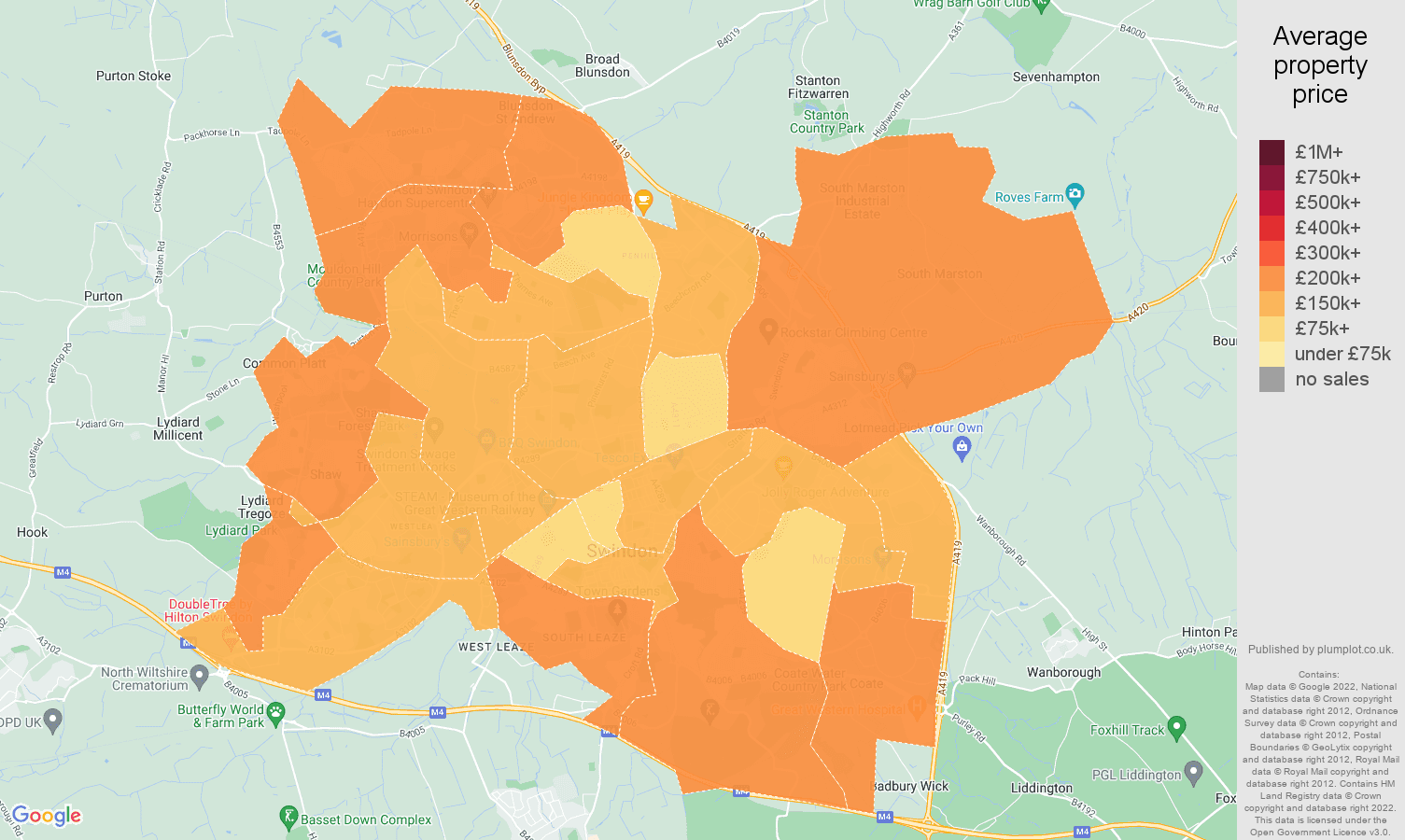 Swindon house prices map