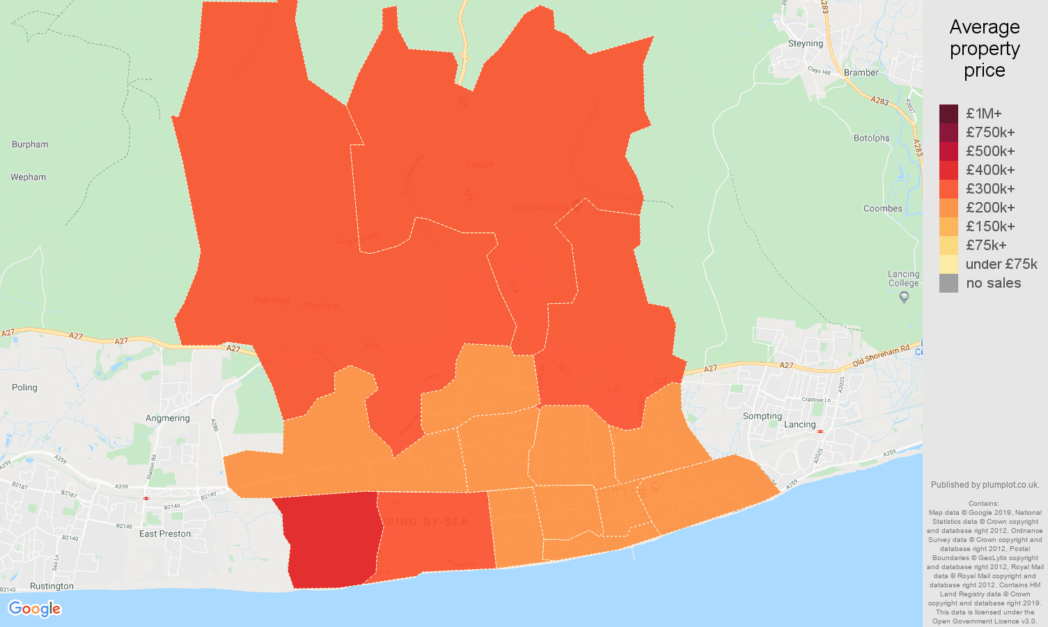 Worthing house prices map