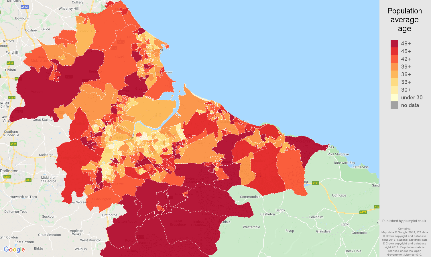 Cleveland population average age map