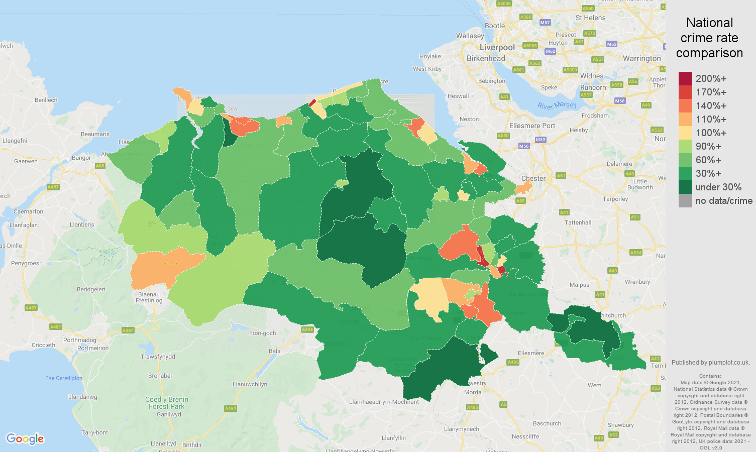 Clwyd antisocial behaviour crime rate comparison map