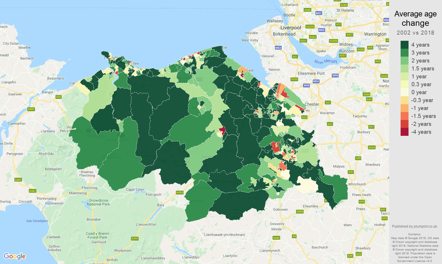 Clwyd average age change map