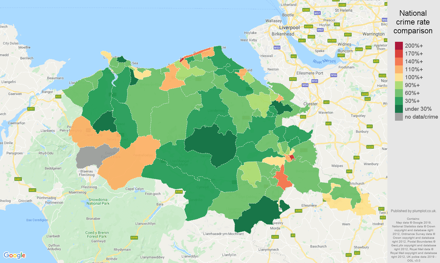 Clwyd other theft crime rate comparison map