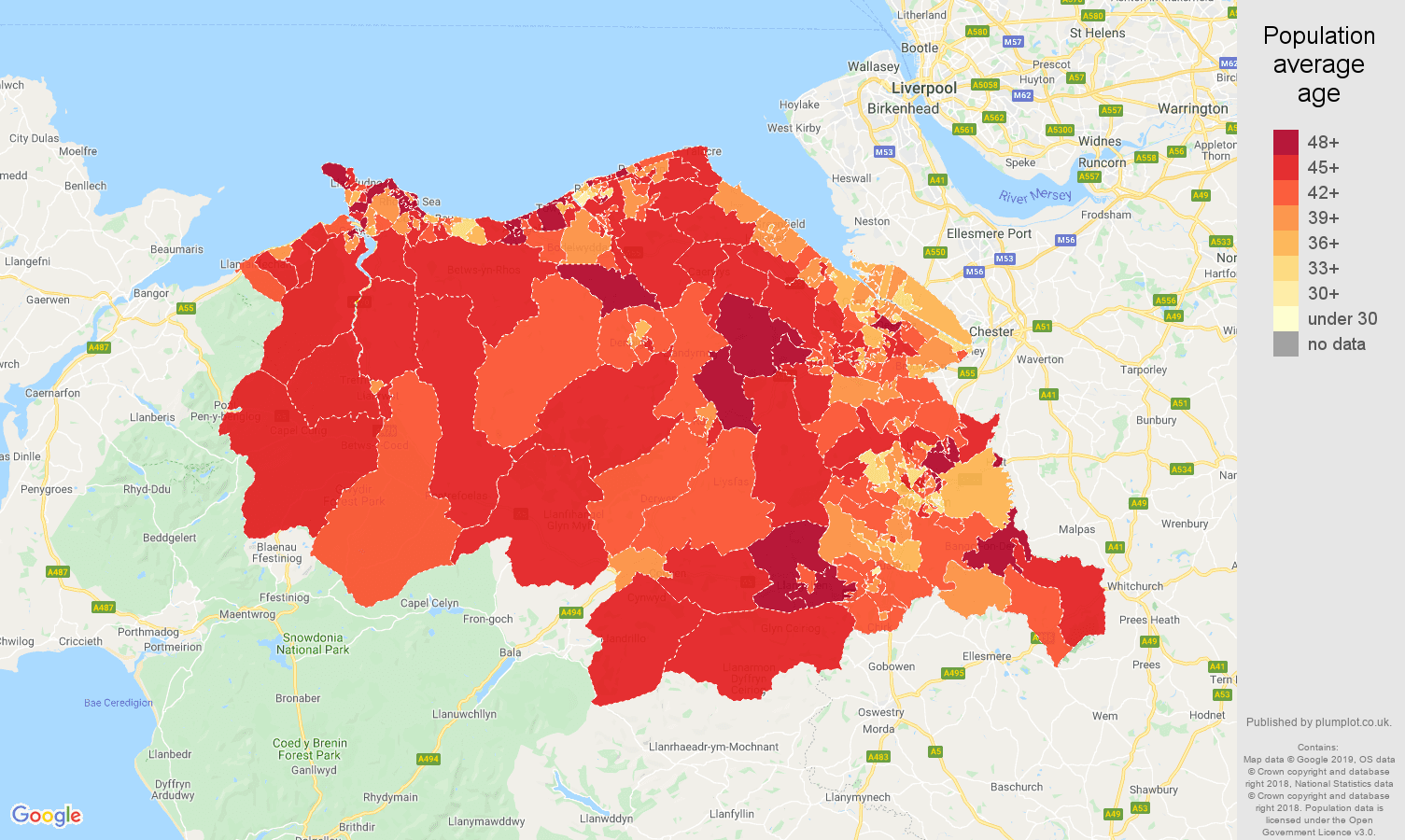 Clwyd population average age map