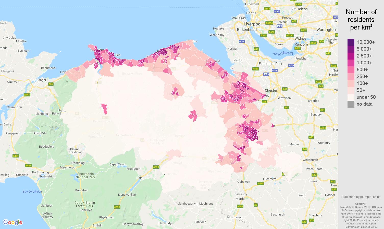Clwyd population density map