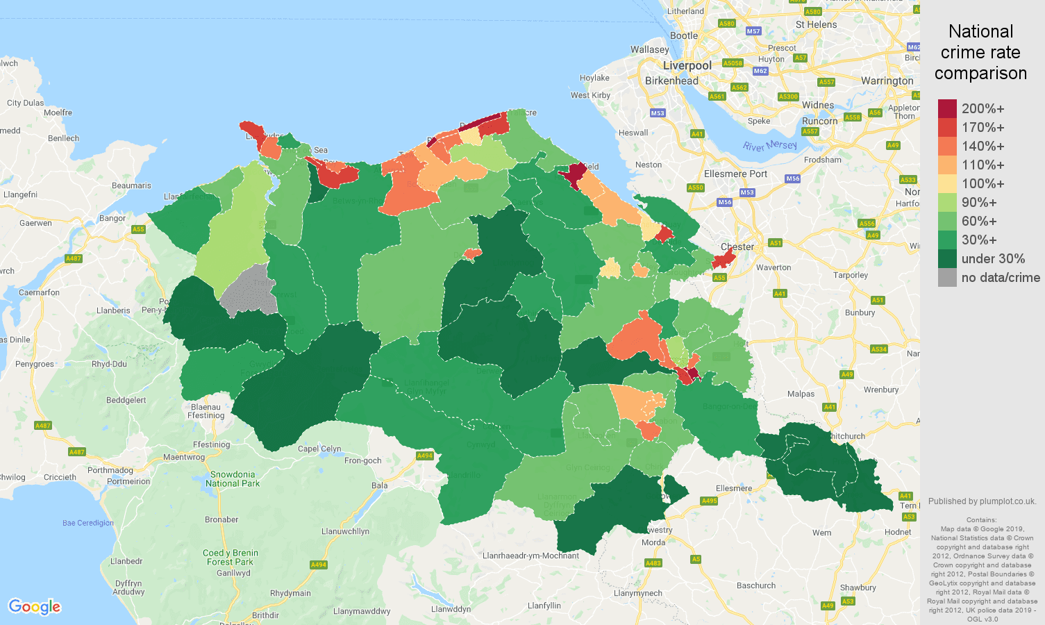 Clwyd public order crime rate comparison map