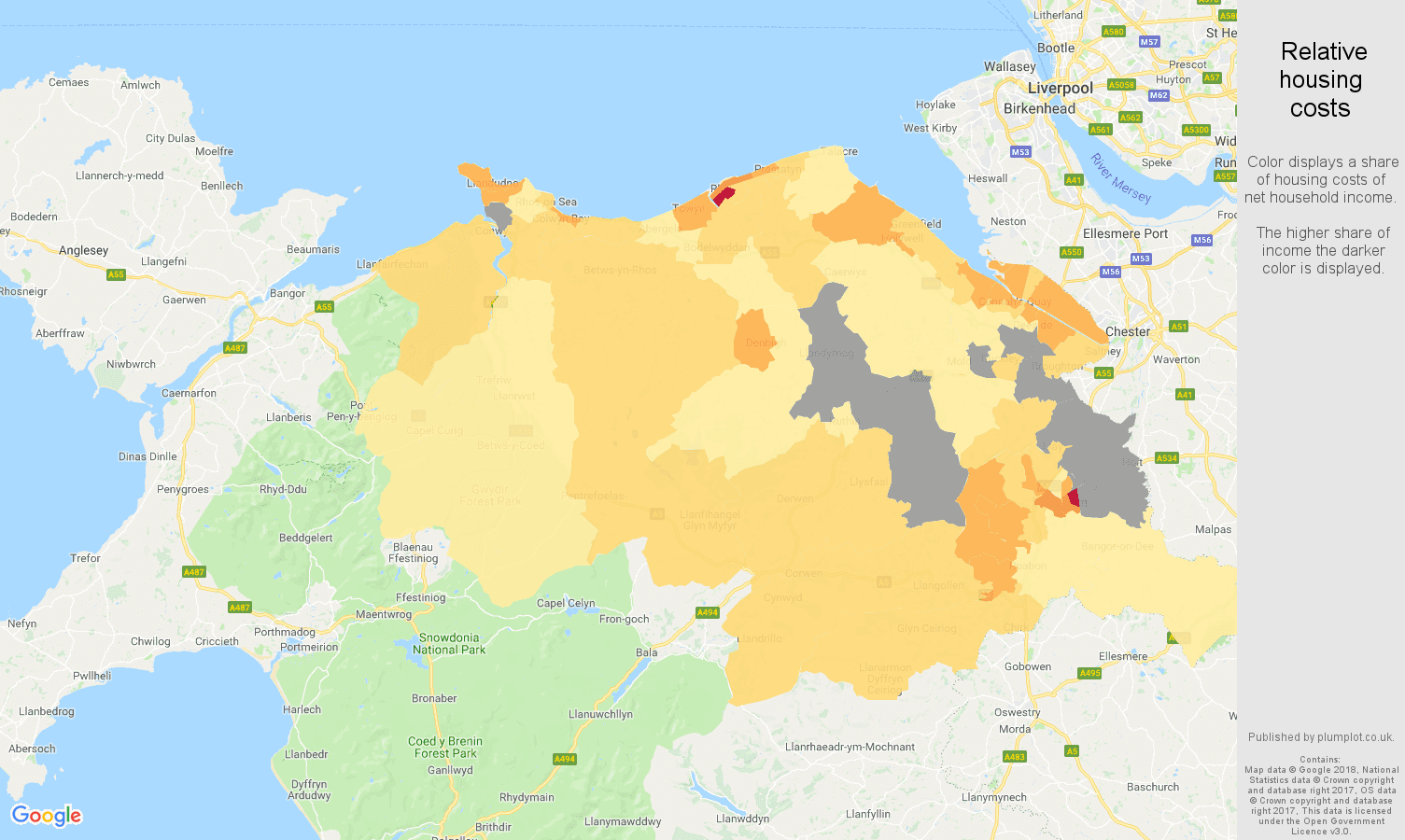 Clwyd relative housing costs map