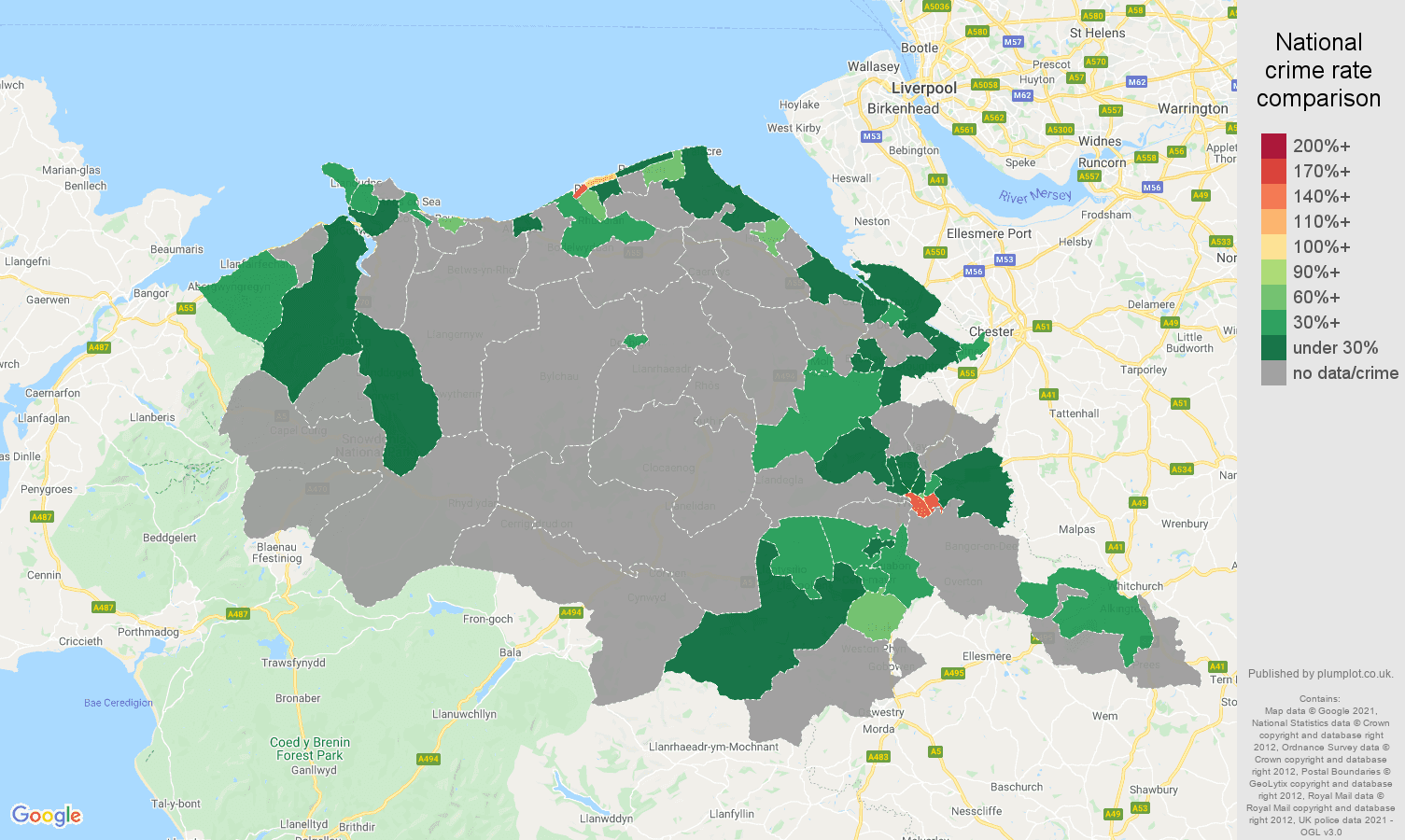 Clwyd robbery crime rate comparison map