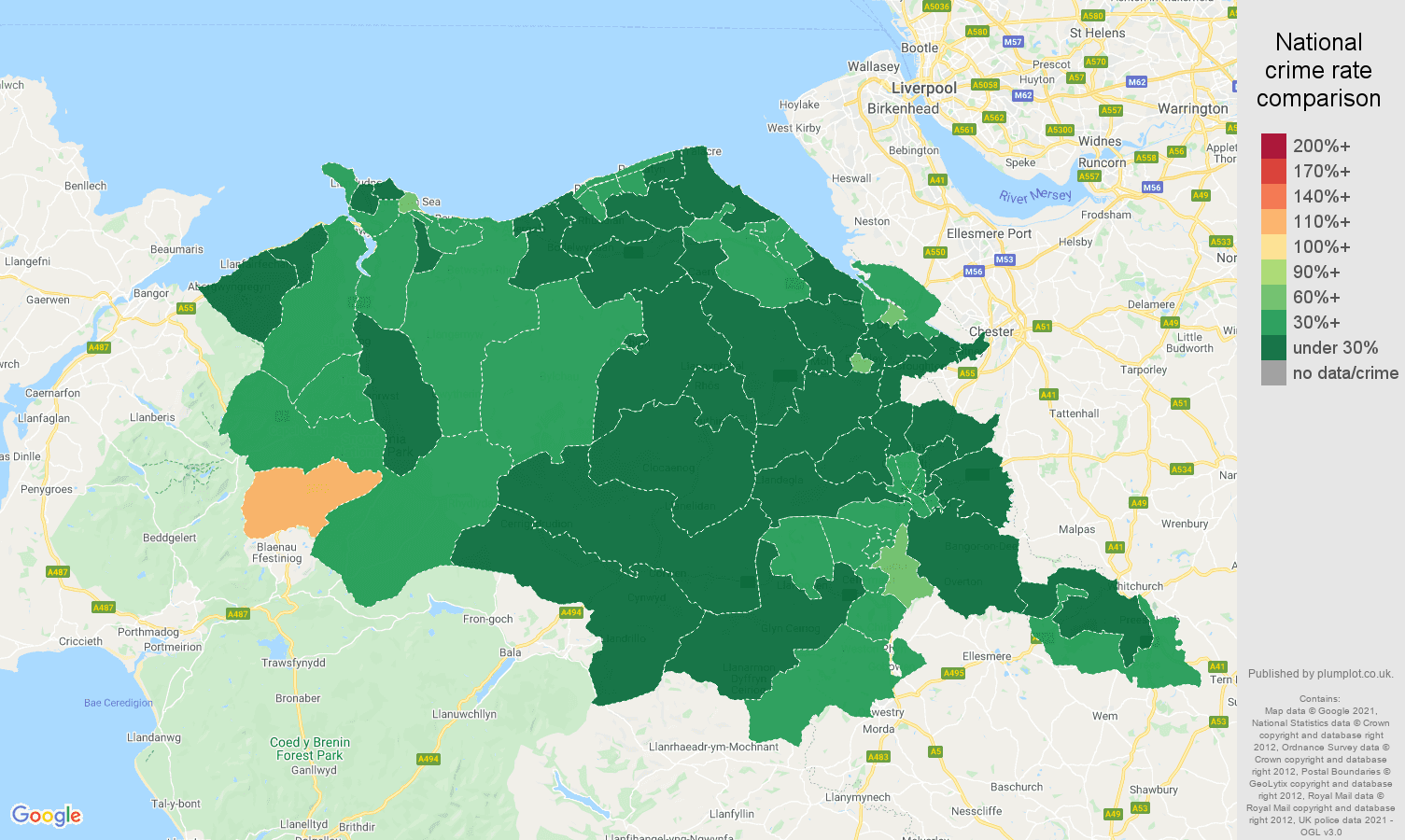 Clwyd vehicle crime rate comparison map