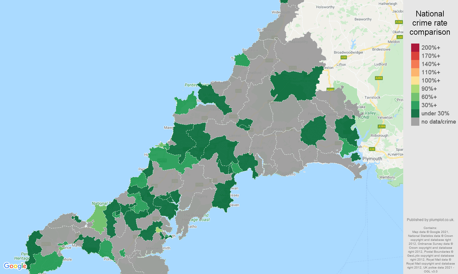 Cornwall bicycle theft crime rate comparison map