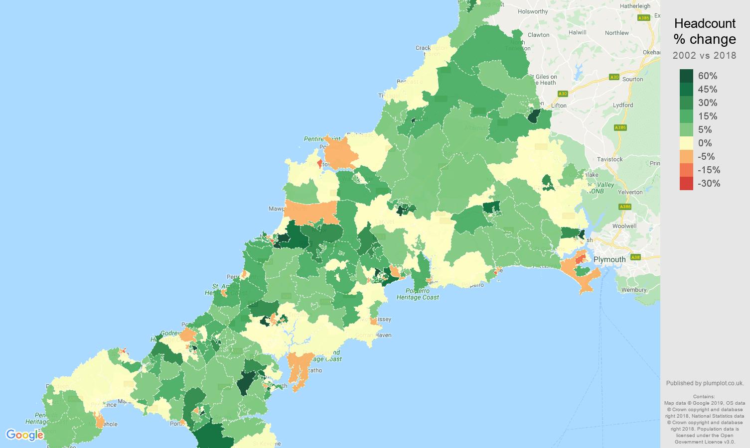 Cornwall headcount change map