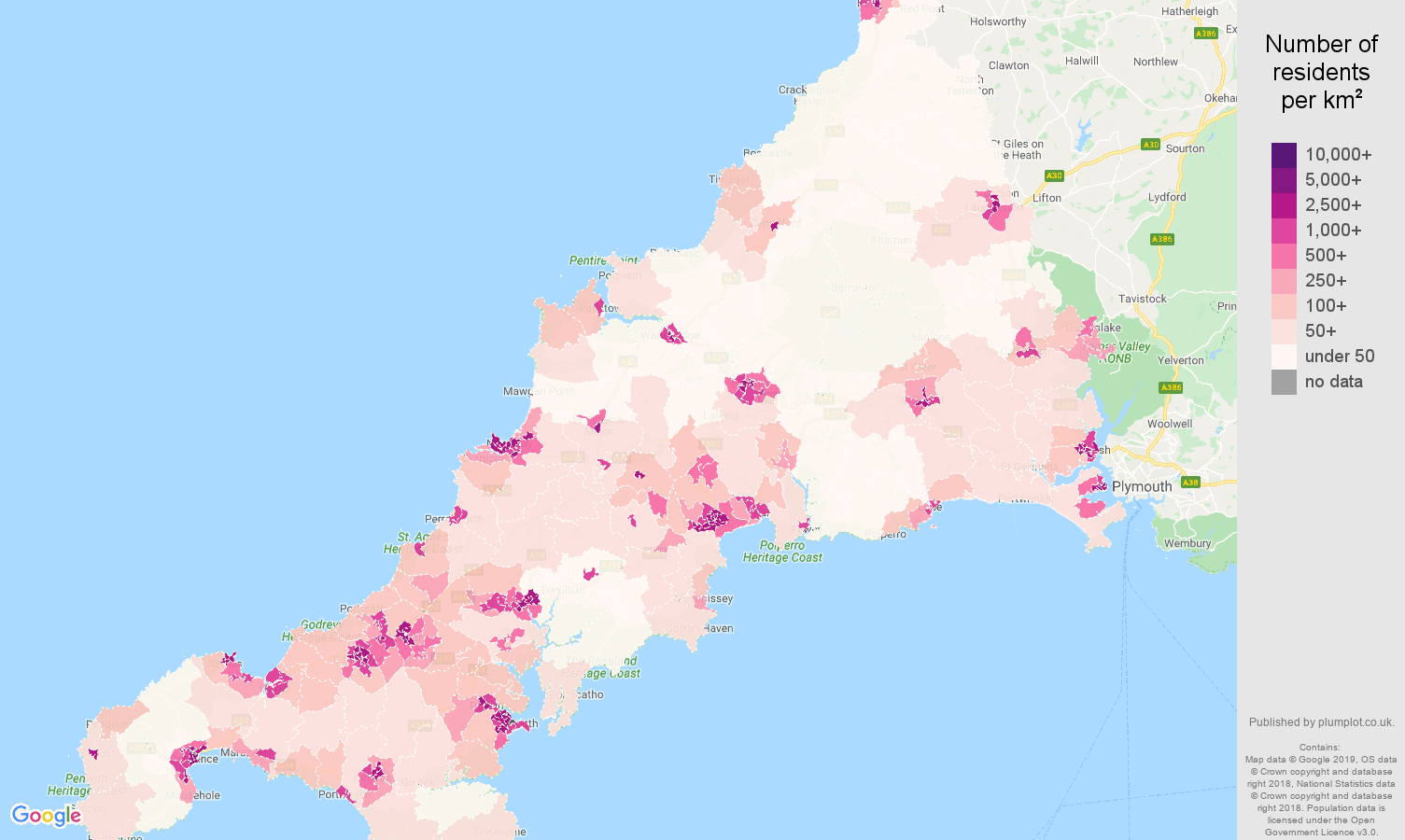 Cornwall population density map