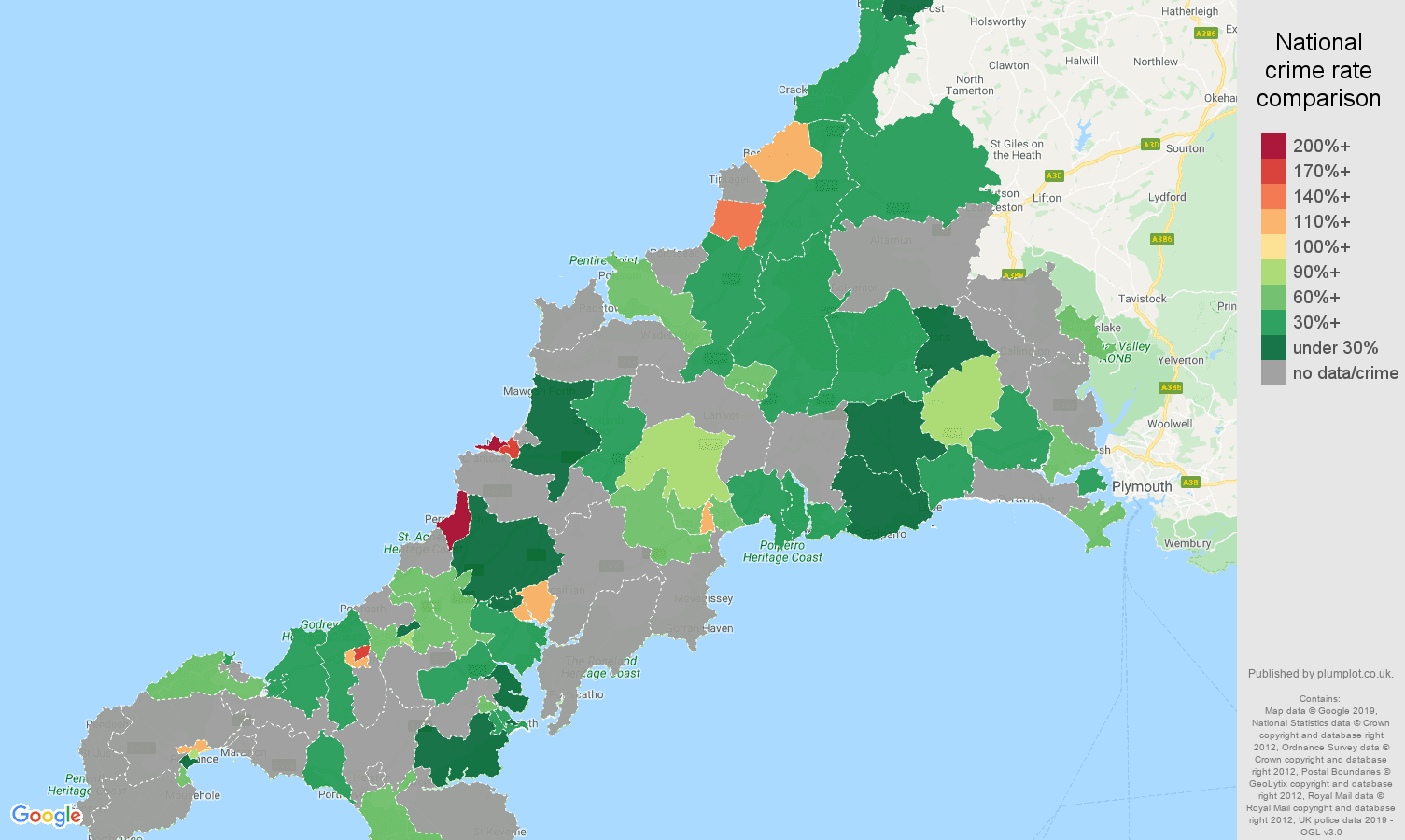 Cornwall possession of weapons crime rate comparison map