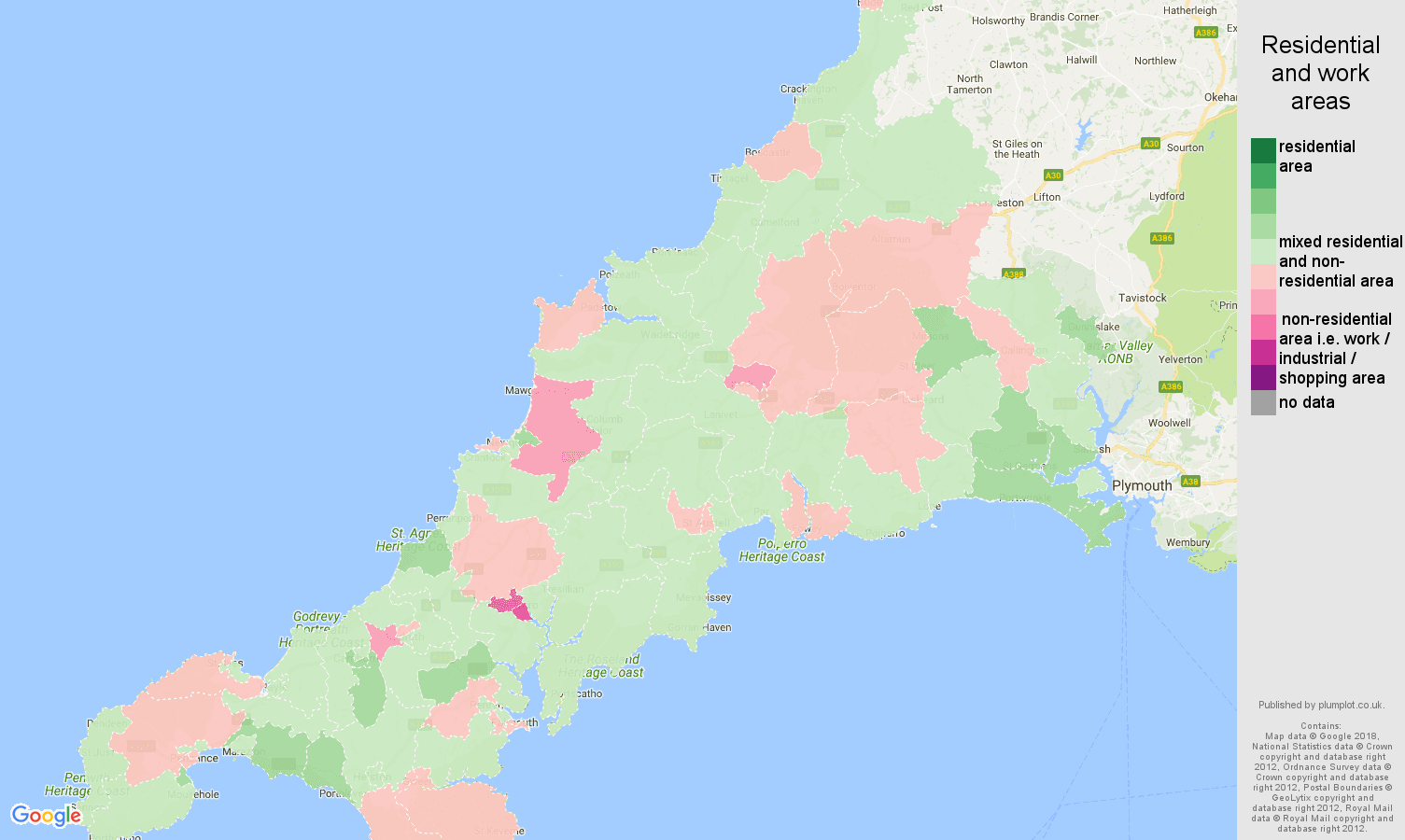 Cornwall residential areas map