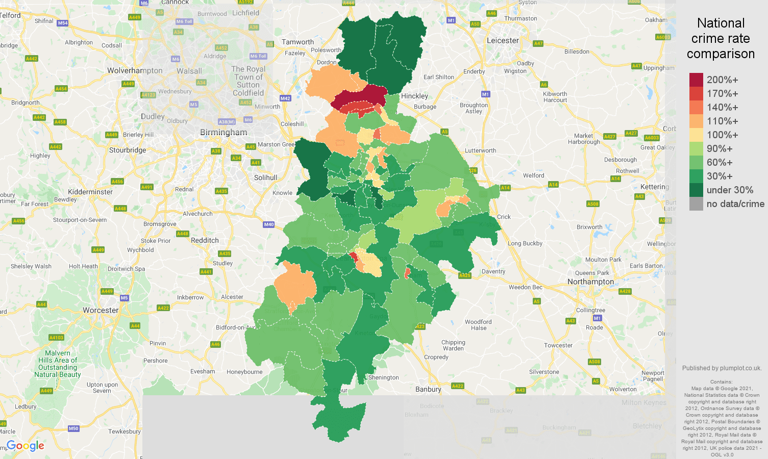 Coventry antisocial behaviour crime rate comparison map