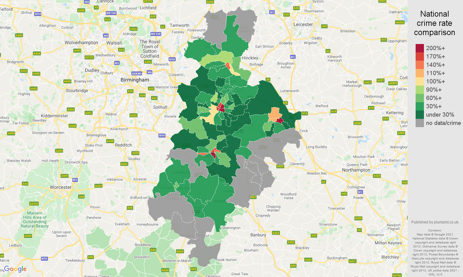 Coventry bicycle theft crime rate comparison map