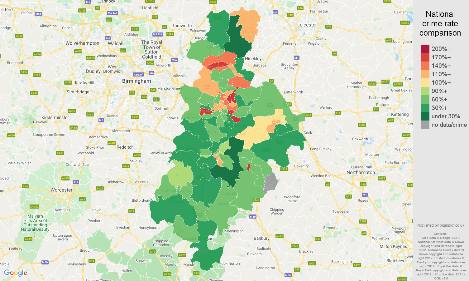 Coventry criminal damage and arson crime rate comparison map