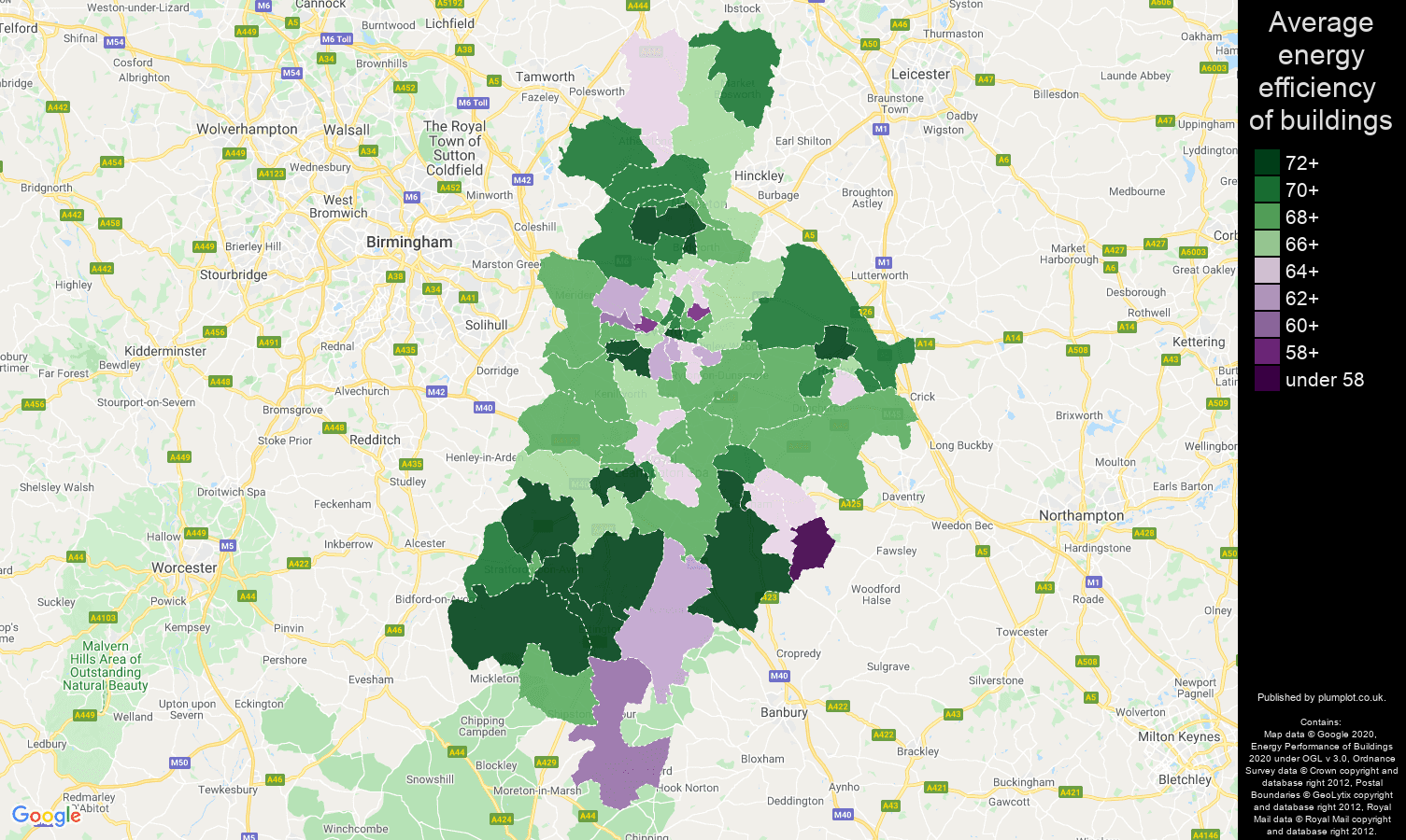 Coventry map of energy efficiency of flats