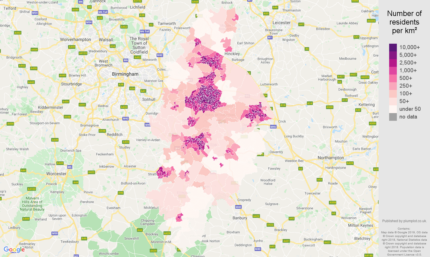 Coventry population density map