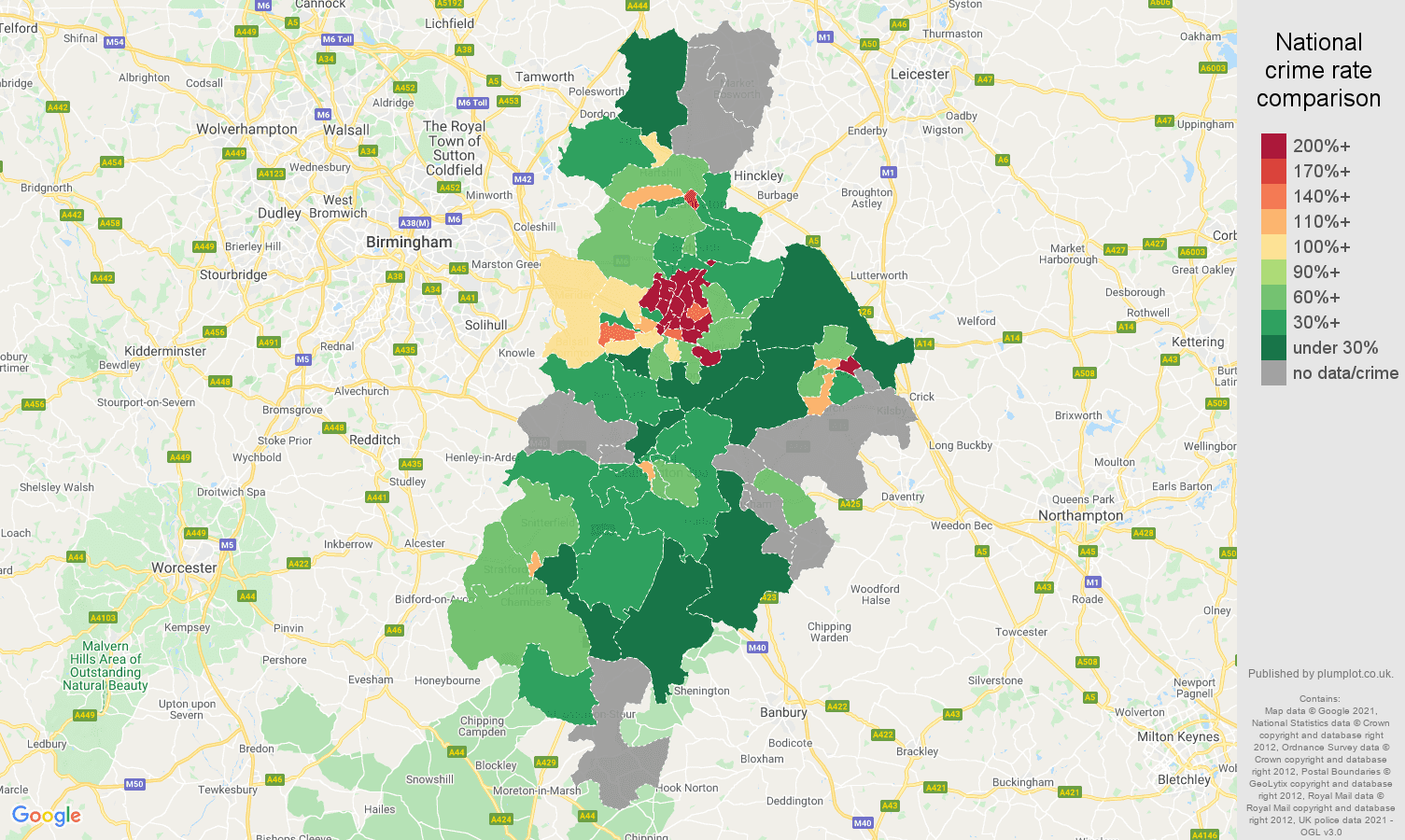 Coventry robbery crime rate comparison map