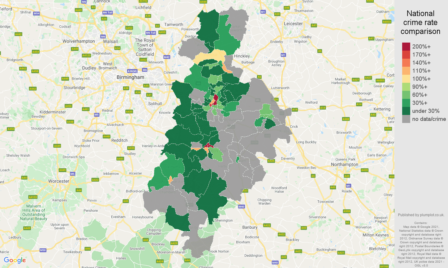 Coventry theft from the person crime rate comparison map