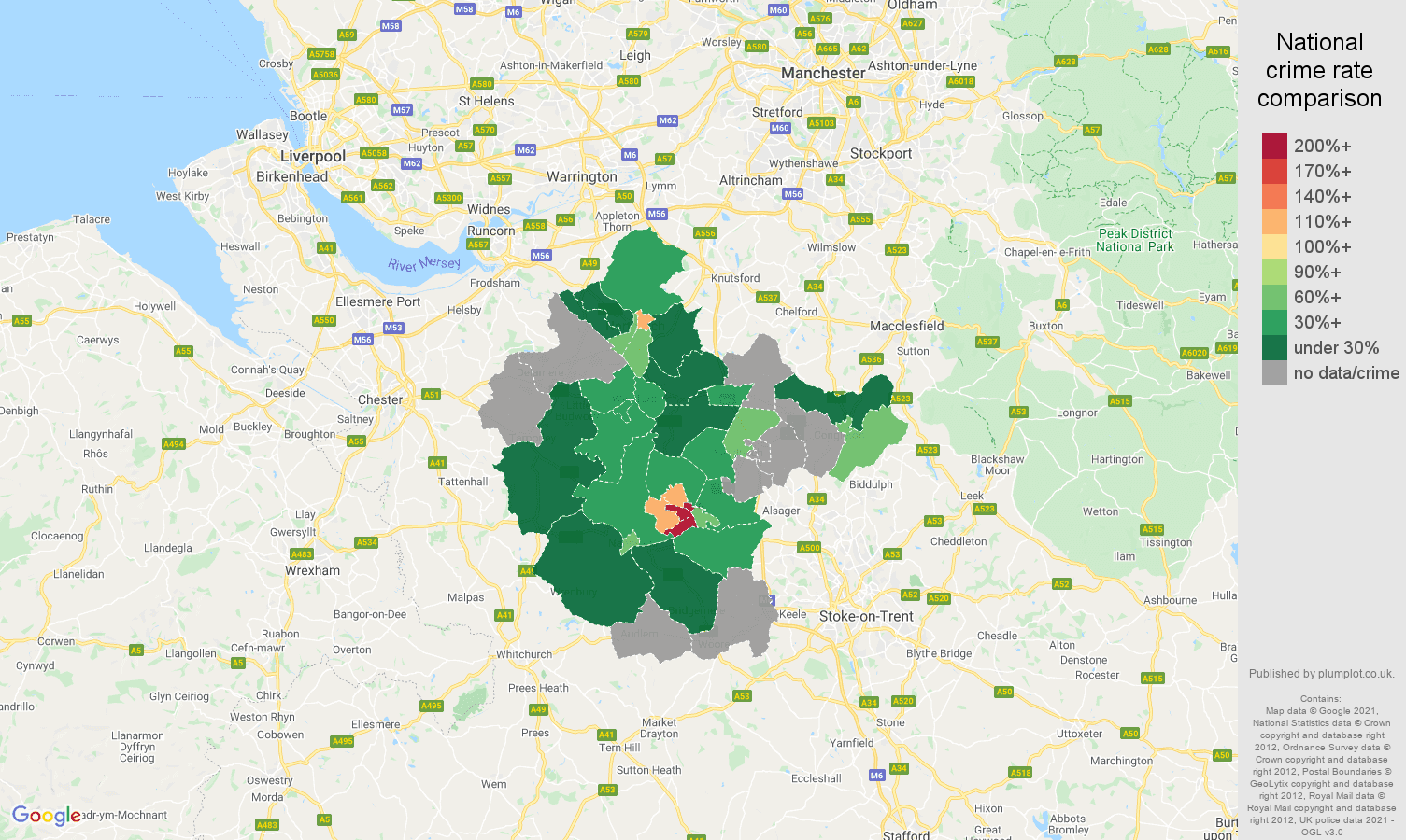 Crewe bicycle theft crime rate comparison map