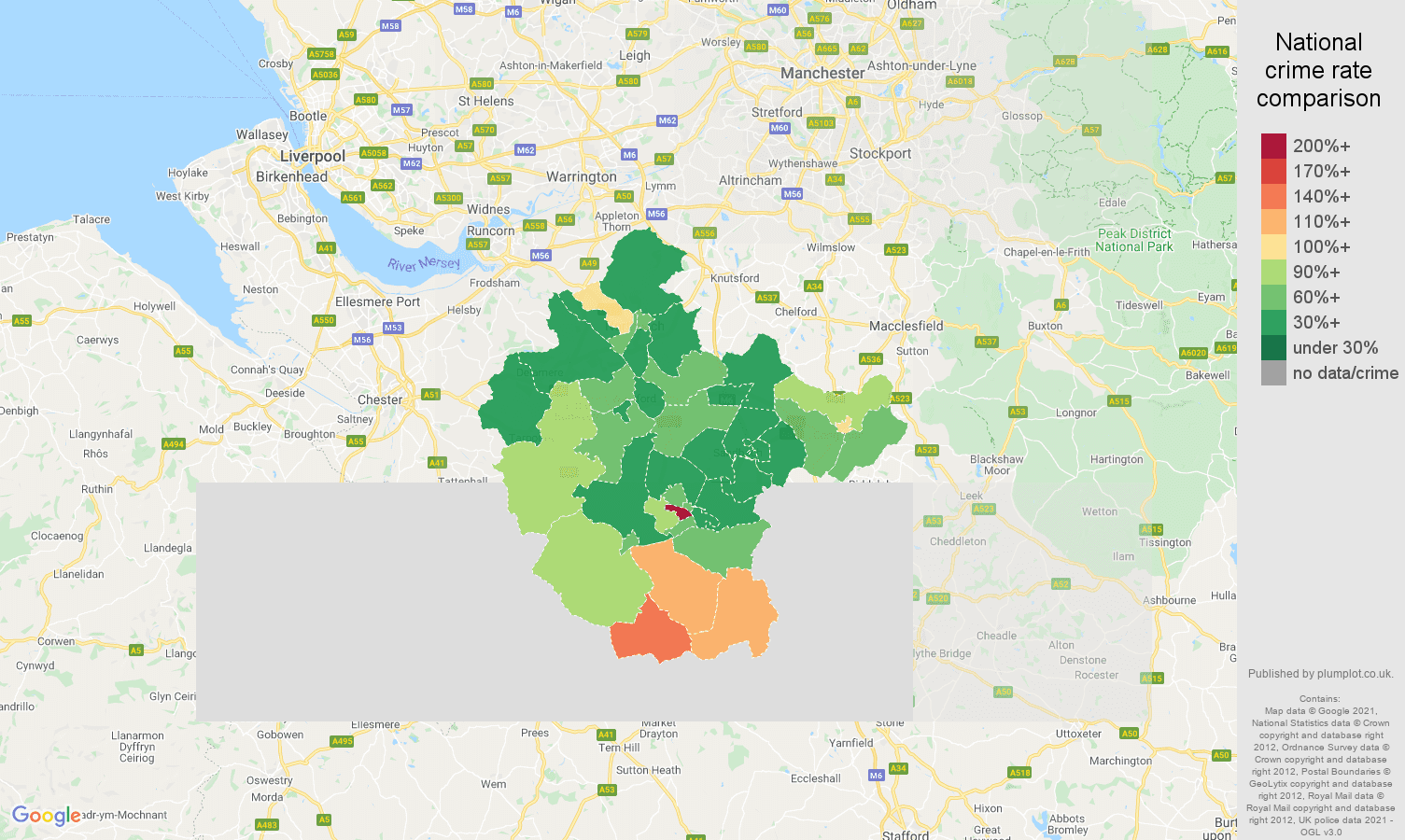 Crewe burglary crime rate comparison map