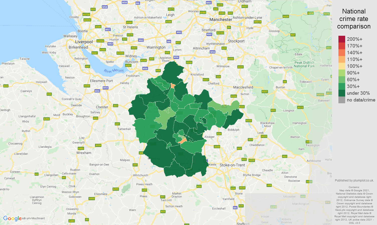Crewe drugs crime rate comparison map
