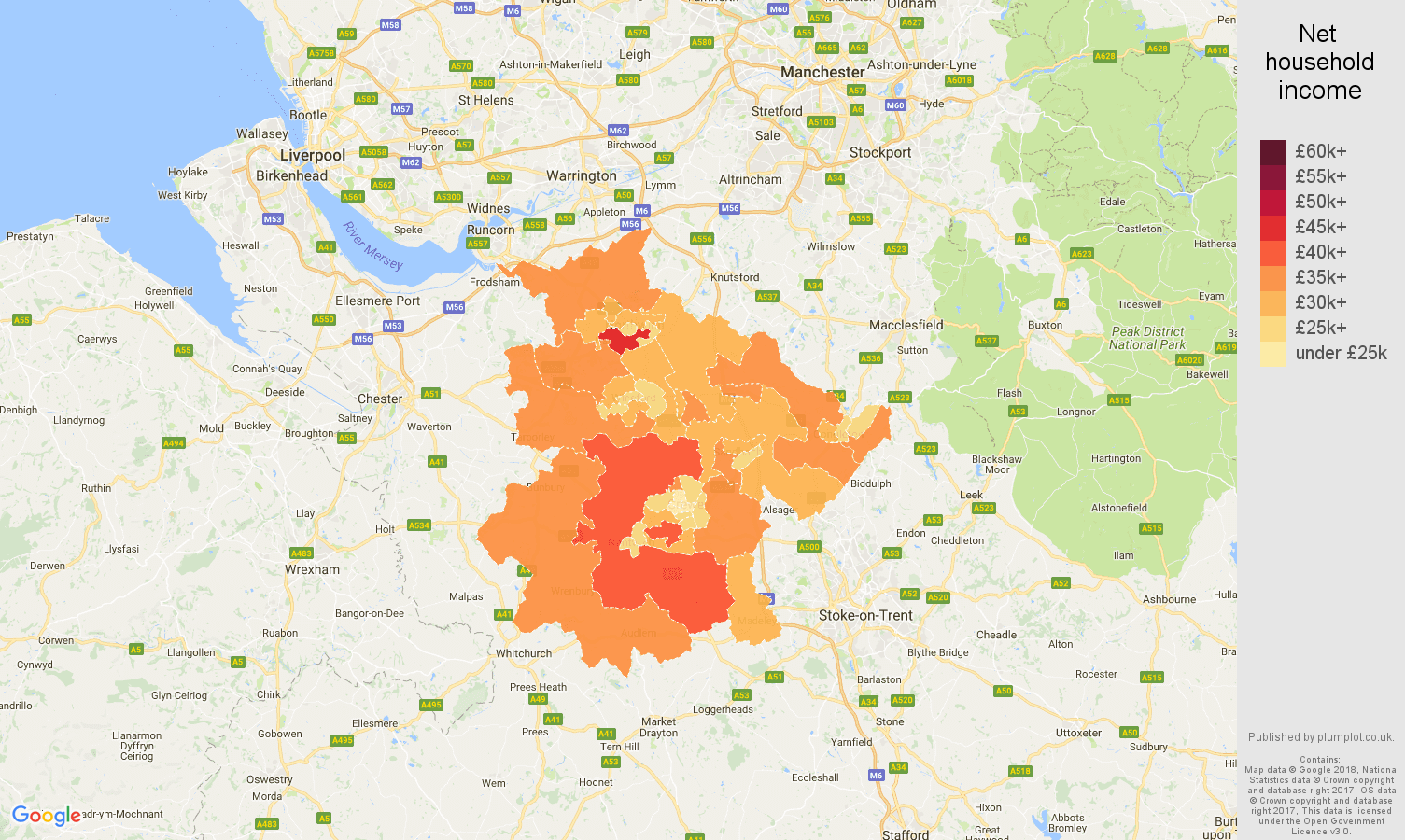 Crewe net household income map