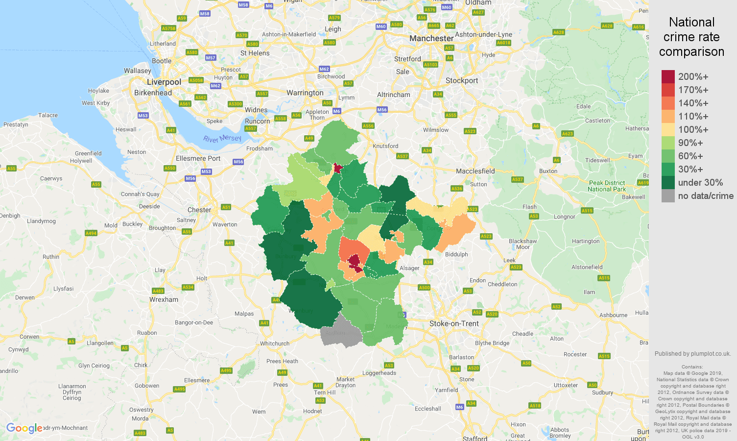 Crewe other crime rate comparison map