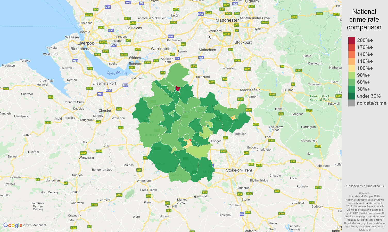 Crewe other theft crime rate comparison map