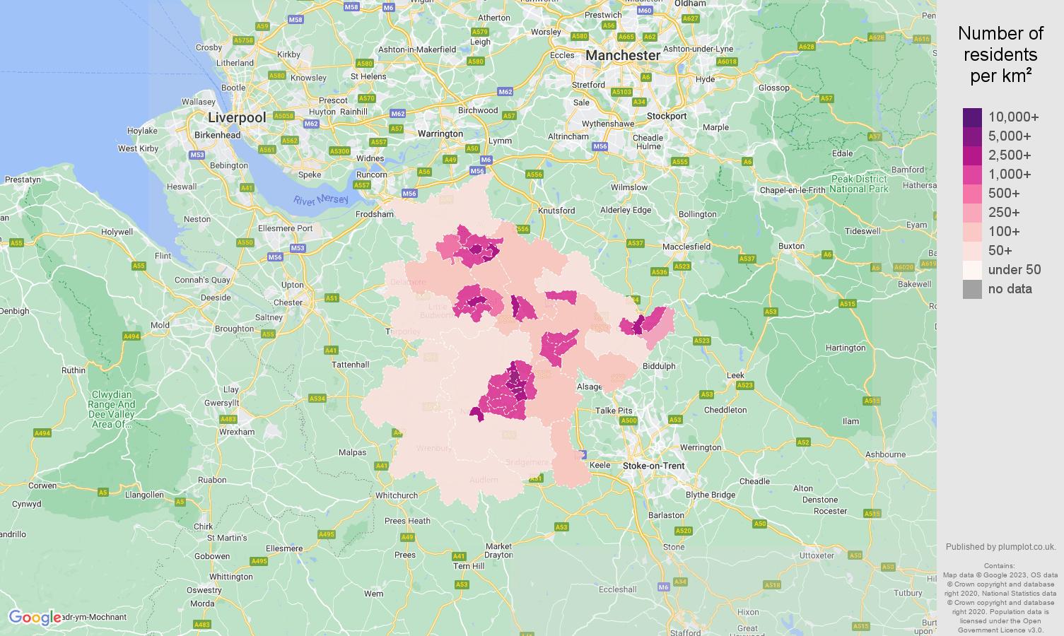Crewe population density map