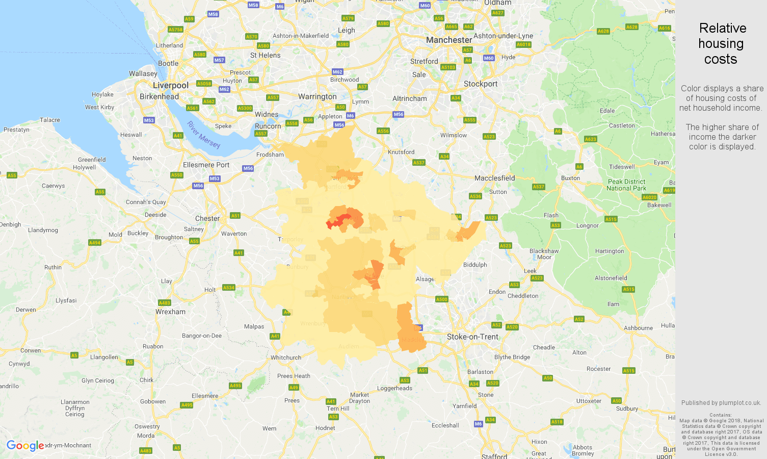 Crewe relative housing costs map