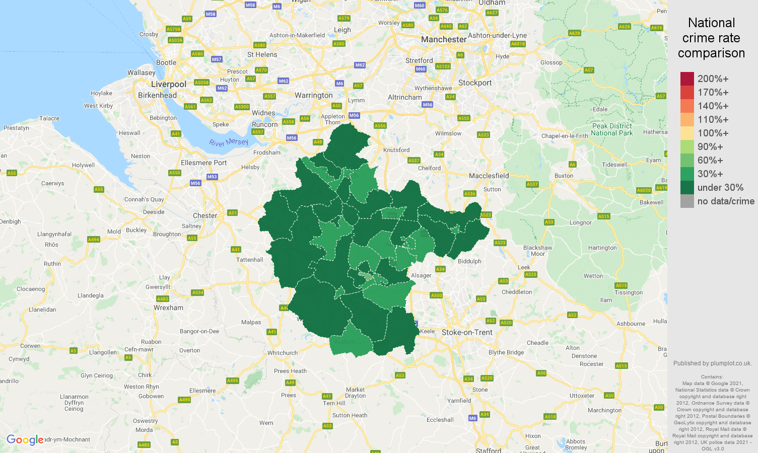 Crewe vehicle crime rate comparison map