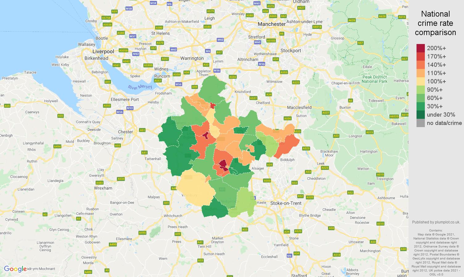 Crewe violent crime rate comparison map