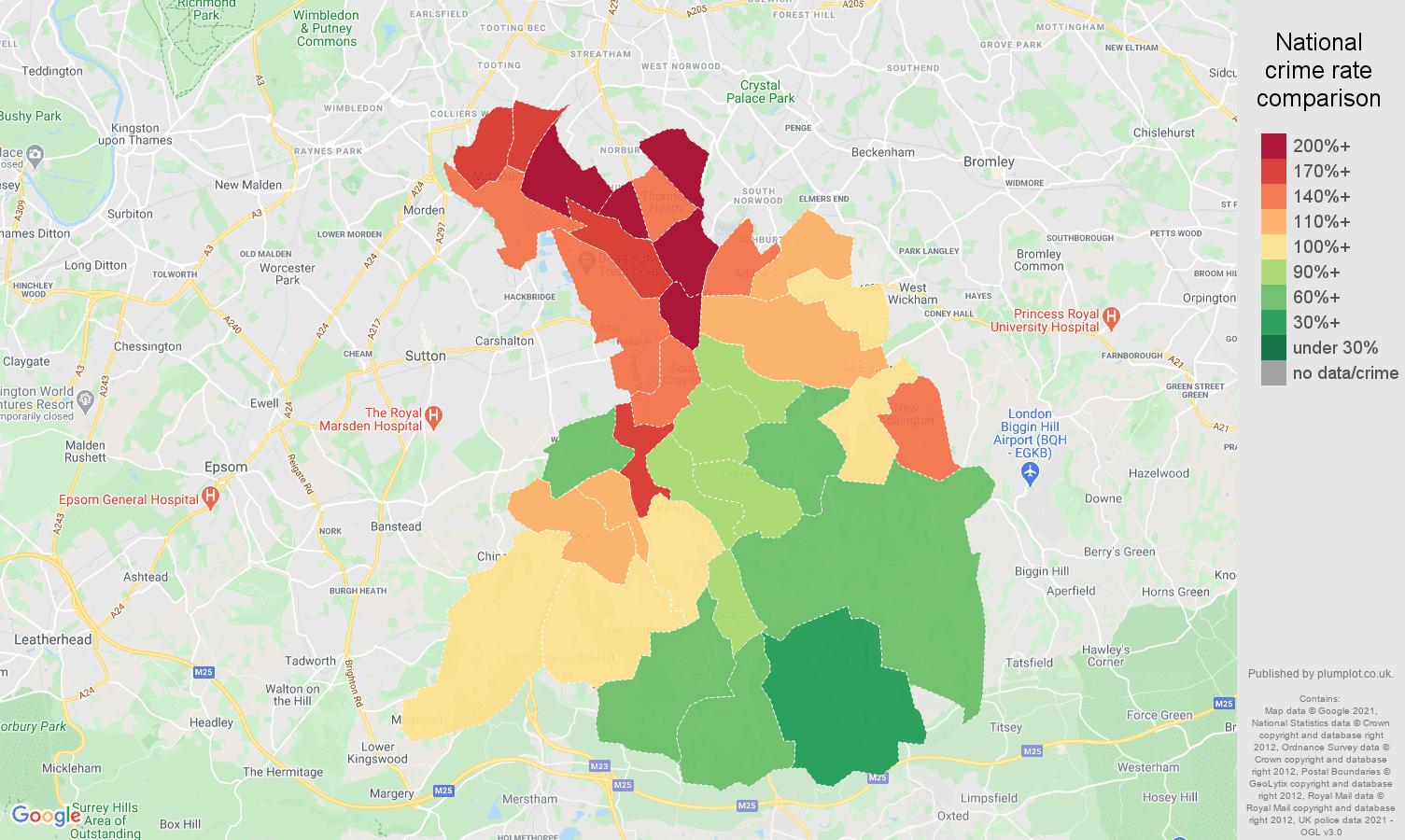 Croydon antisocial behaviour crime rate comparison map