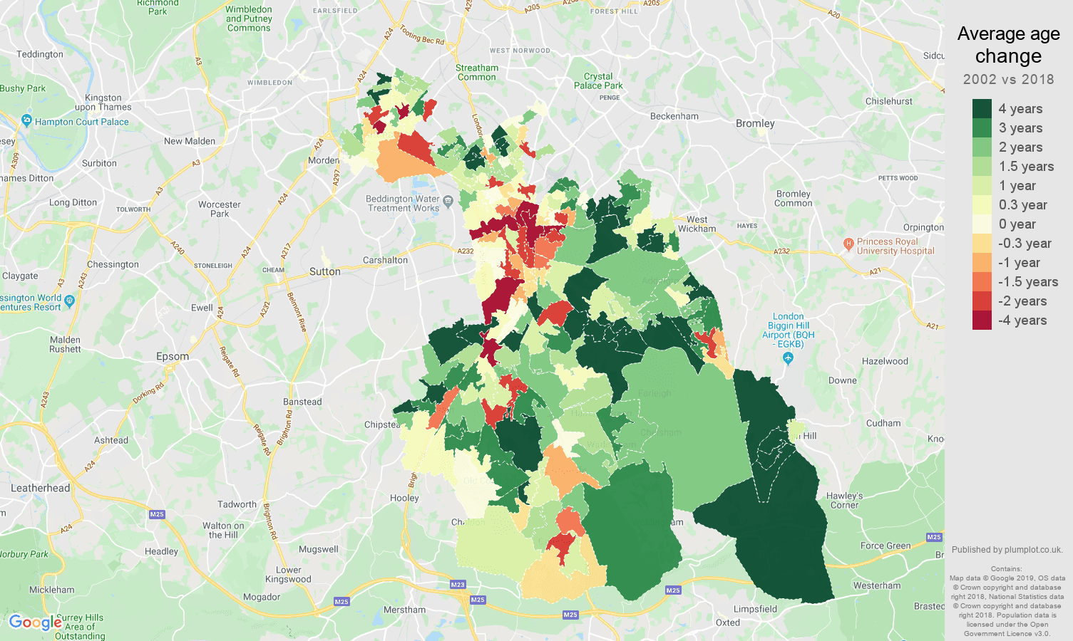 Croydon average age change map