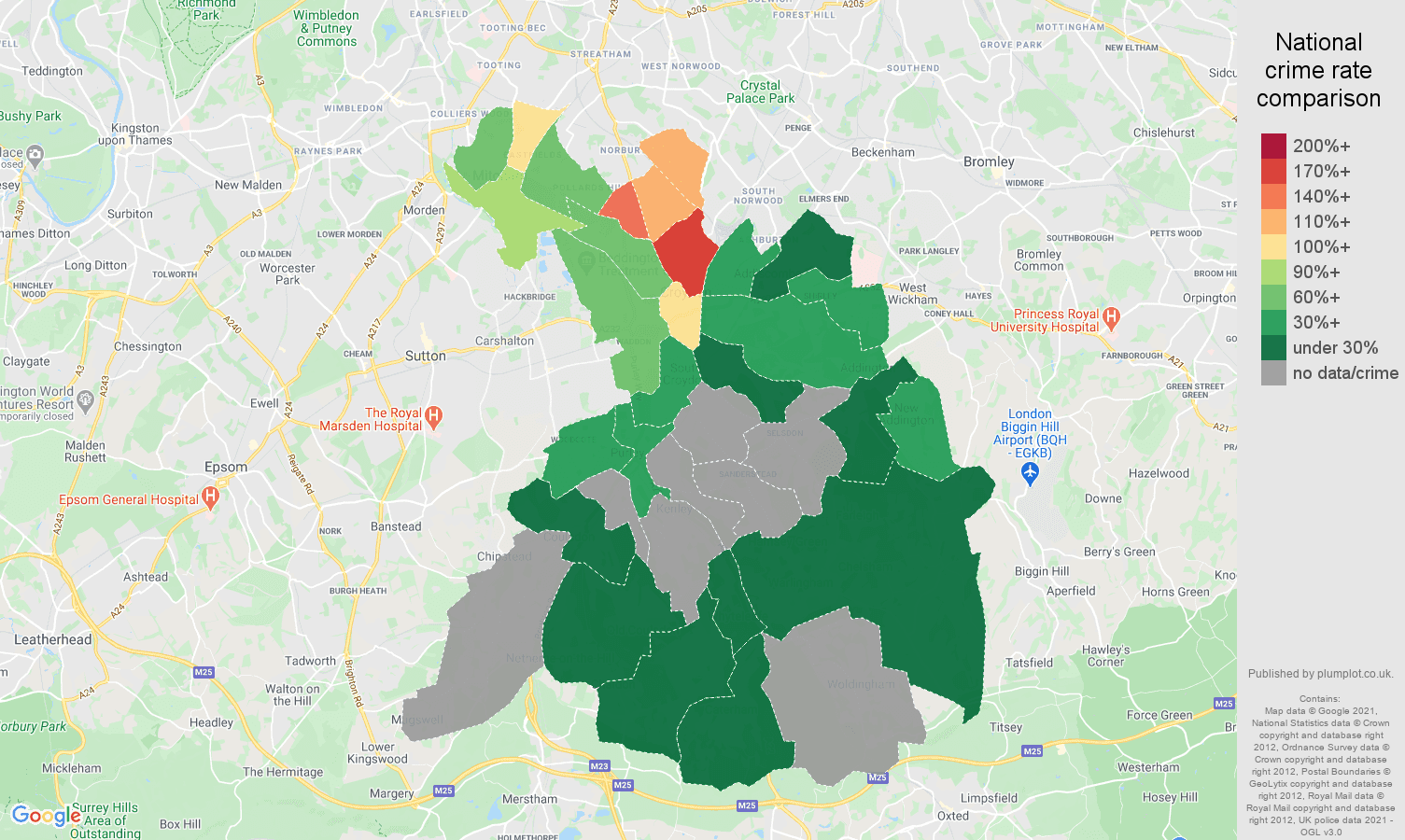 Croydon bicycle theft crime rate comparison map