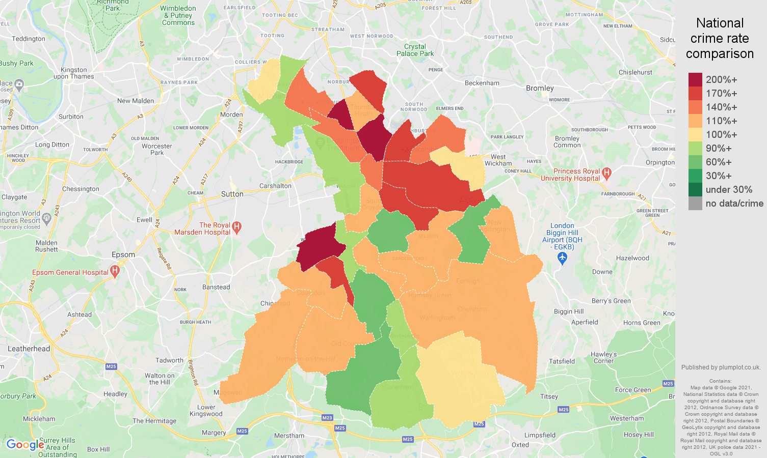Croydon burglary crime rate comparison map