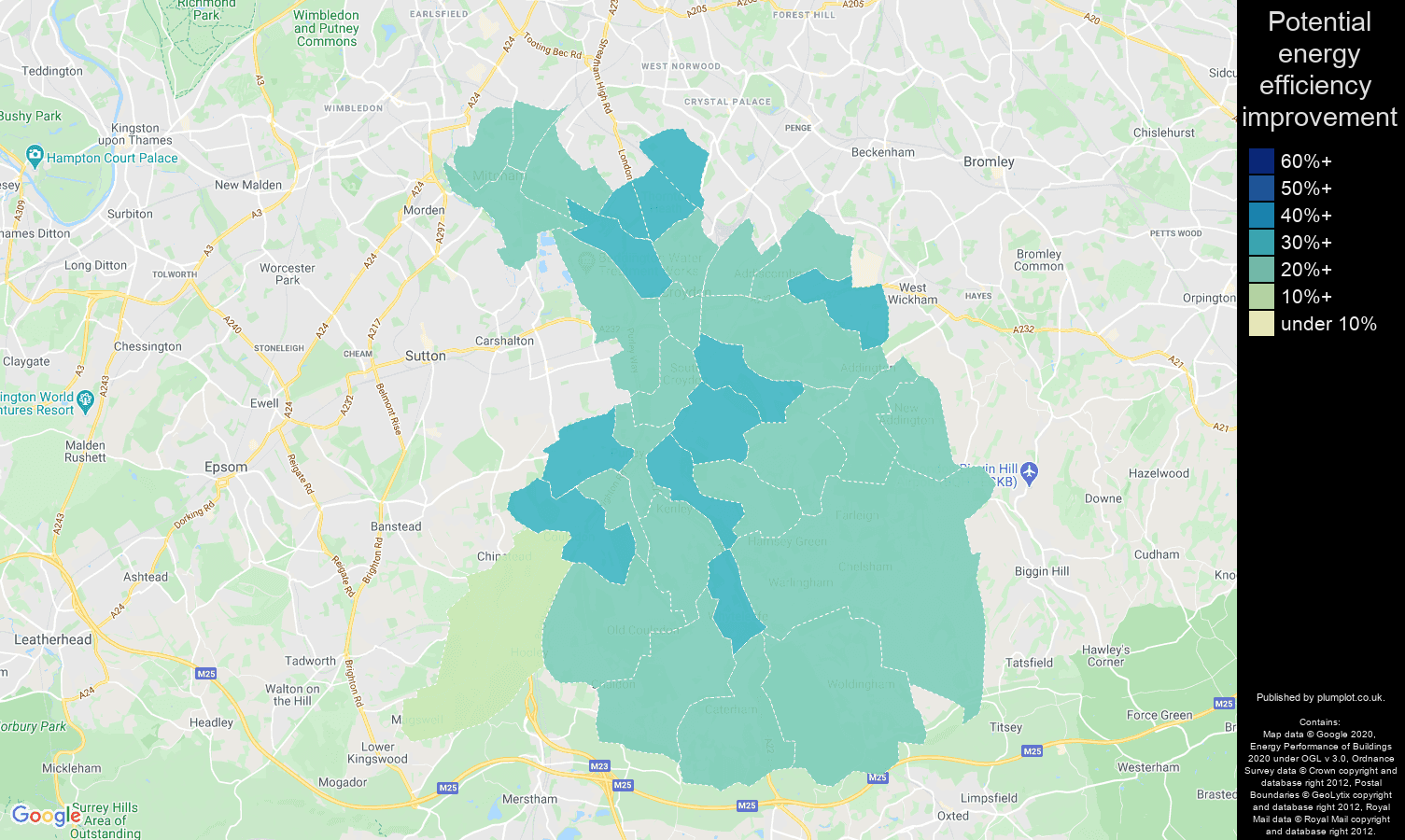Croydon map of potential energy efficiency improvement of houses