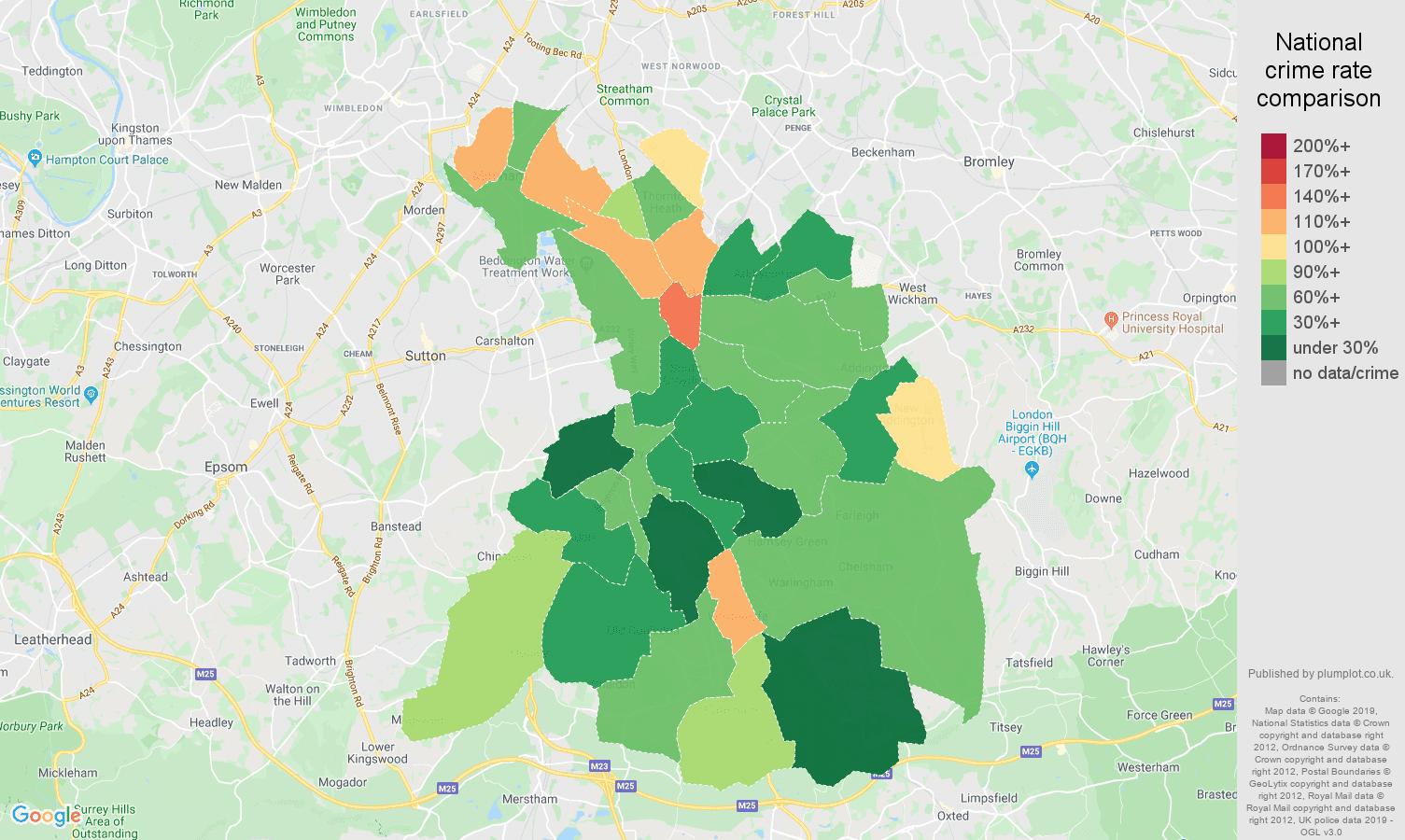 Croydon other crime rate comparison map