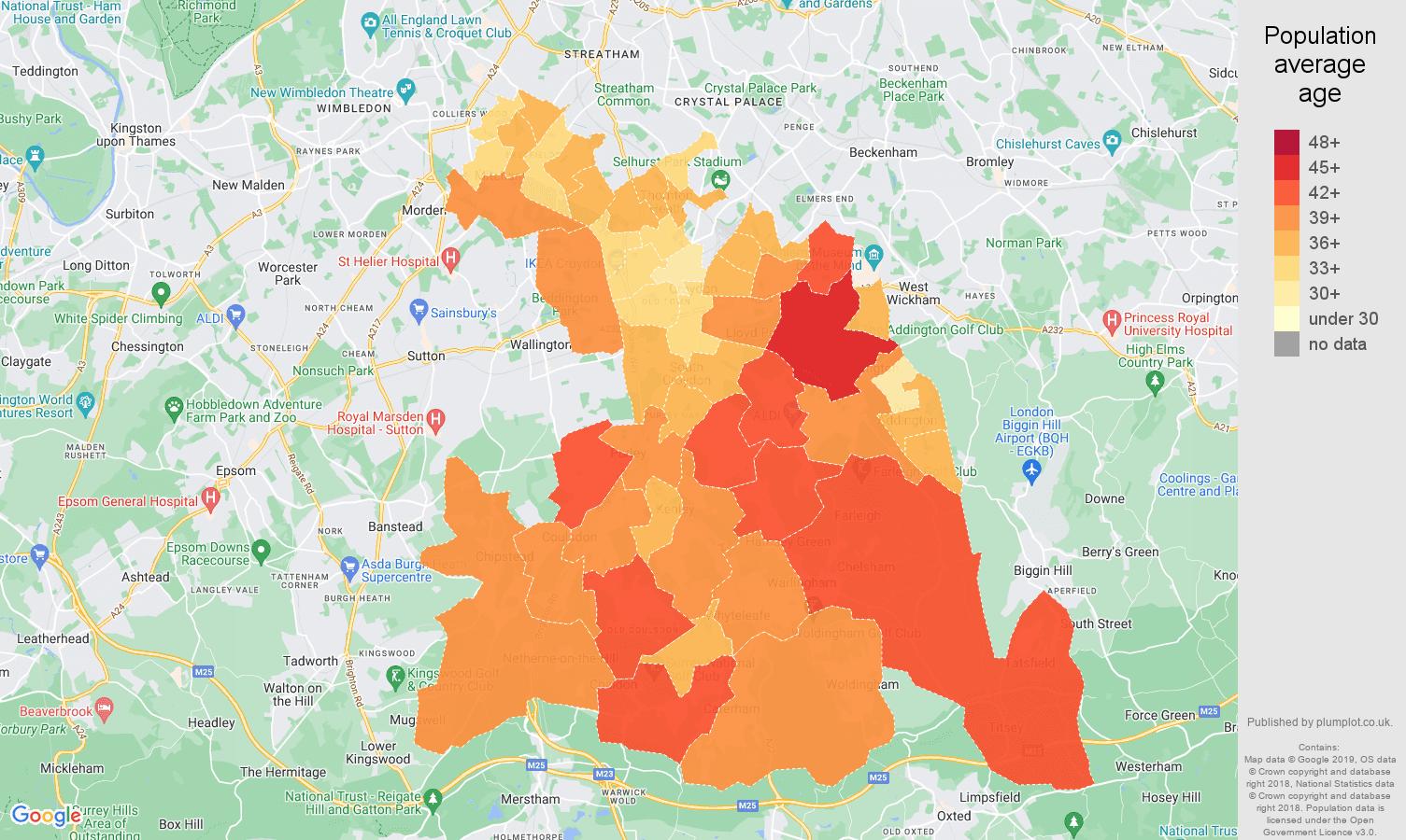 Croydon population average age map