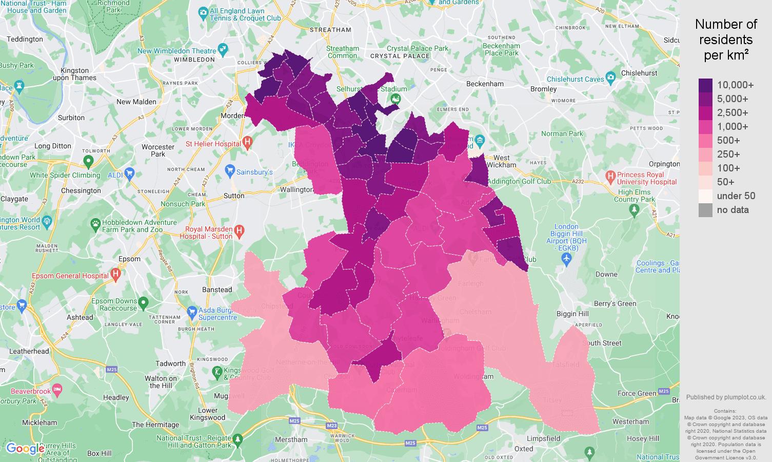Croydon population density map