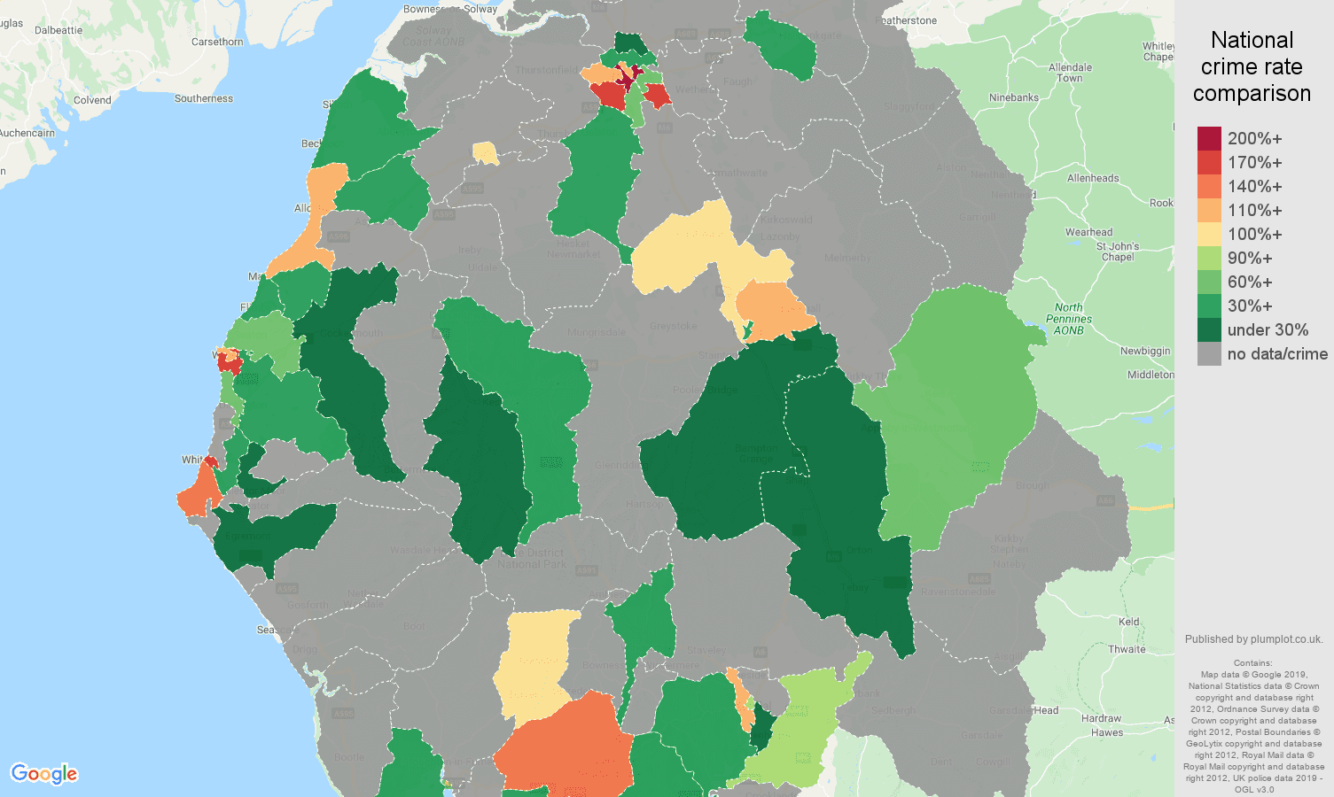 Cumbria possession of weapons crime rate comparison map