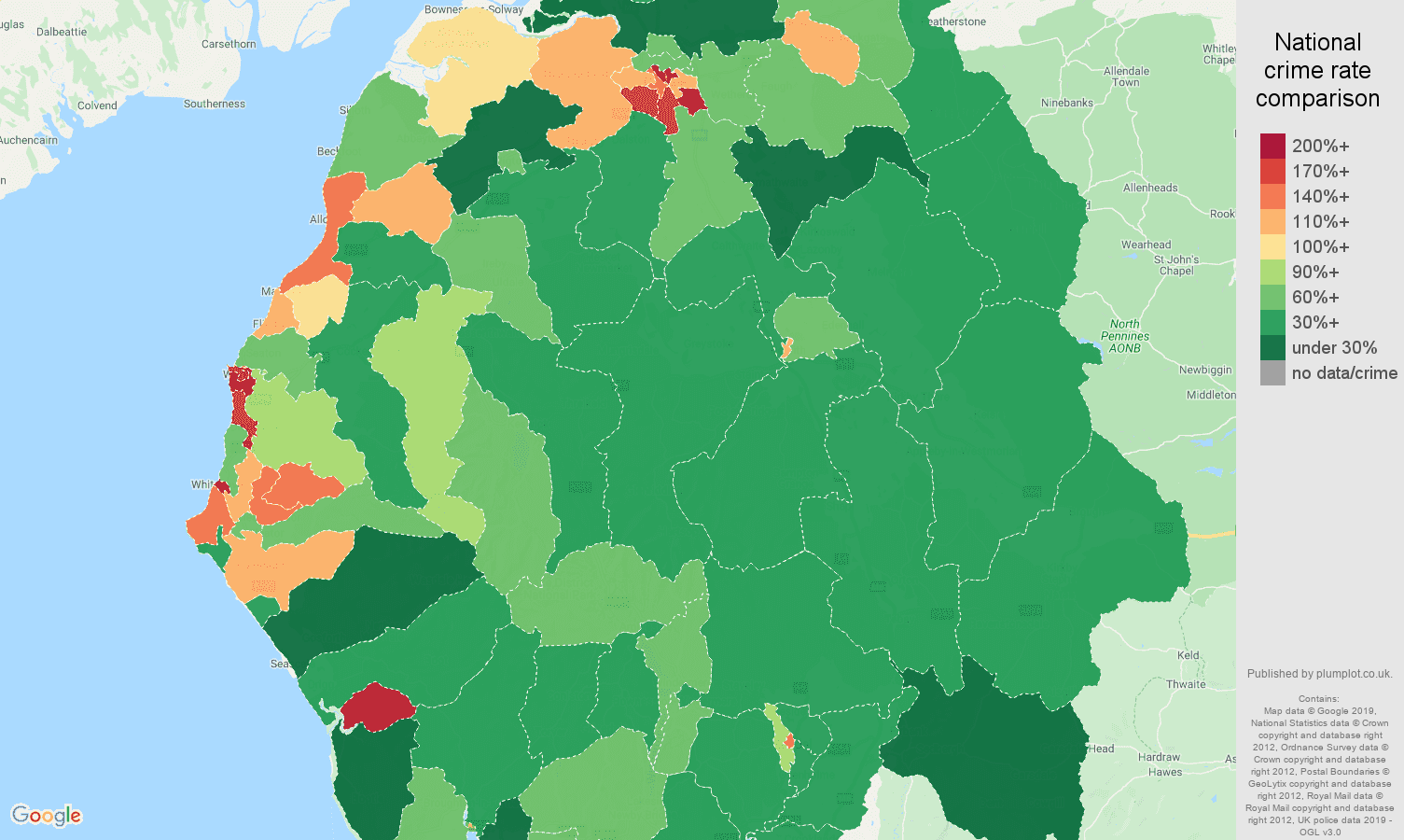 Cumbria public order crime rate comparison map