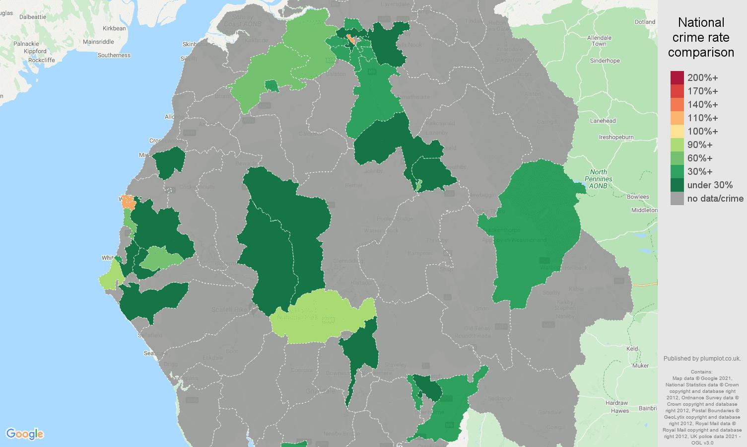 Cumbria robbery crime rate comparison map