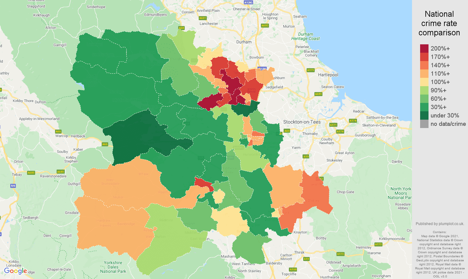 Darlington antisocial behaviour crime rate comparison map