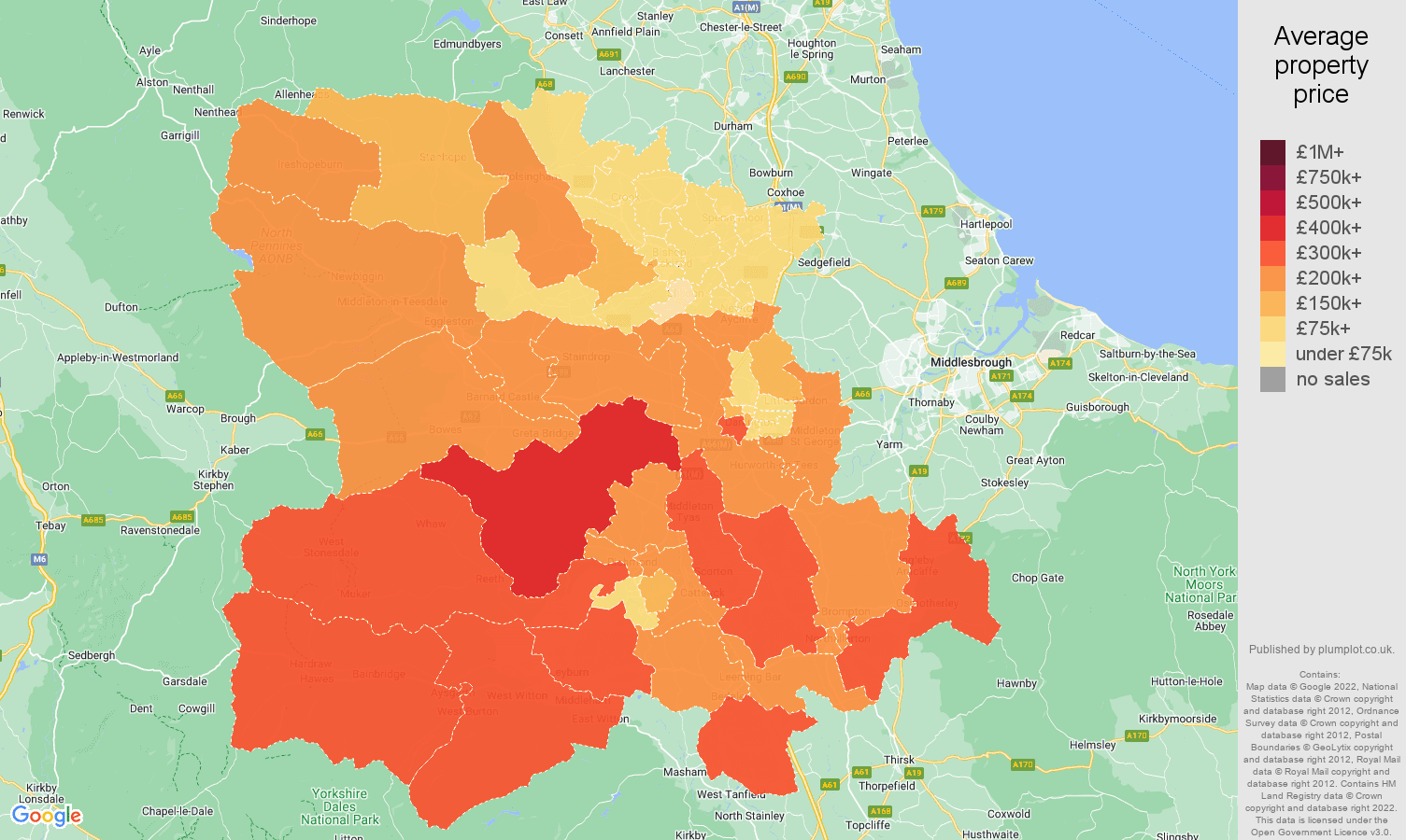 Darlington house prices map